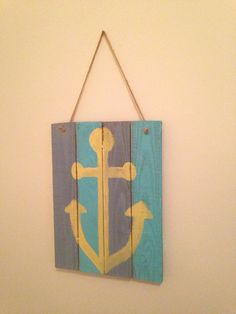 Hand painted Wooden Anchor Sign