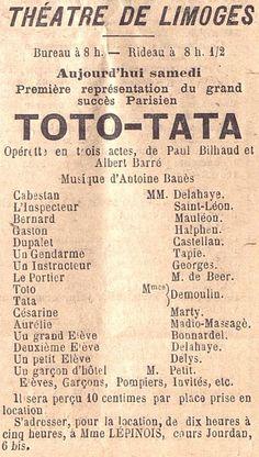 """Aujourd'hui, première représentation du Grand succès parisien TOTO-TATA"""", extrait de la Gazette du Centre, 1893"""