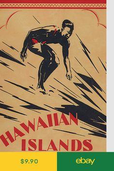 Hawaiian Islands Surf Poster 24 Vintage surf poster reproduction of Hawaiian Islands Surf. Made in USA. Printed on heavyweight paper. Hawaii Surf, Hawaii Travel, Dukes Waikiki, Vintage Surfing, Beach Posters, Surf Posters, Hawaiian Art, Vintage Hawaiian, Retro Surf