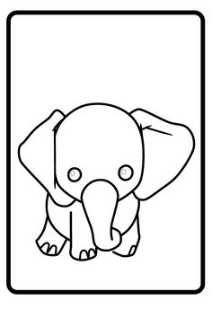 Small Elephant Funny Coloring Page 2Kids