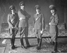 King Zog of #Albania with his three sisters.