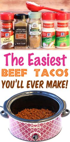 {Easy Crowd Pleasing Recipe} - The Frugal Girls Crockpot Beef Tacos Recipe! {Easy Crowd Pleasing Recipe} - The Frugal Girls , Crockpot Beef Tacos Recipe! {Easy Crowd Pleasing Recipe} - The Frugal Girls , Crockpot Beef Tacos, Crock Pot Tacos, Slow Cooker Tacos, Homemade Tacos, Homemade Taco Seasoning, Seasoning Recipe, Taco Meat Seasoning, Frugal, Salsa Verte