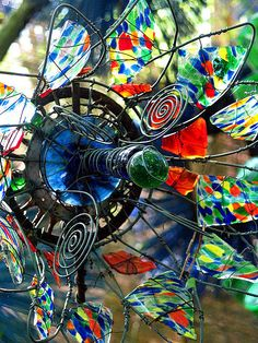 Beautiful wired broken glass flower by June Corley.