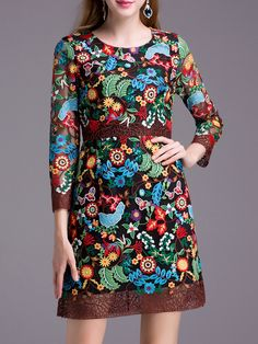 Image of Multicolor Crochet Hollow Out Embroidered Dress