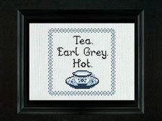 Tea Earl Grey Hot  Cross Stitch PDF Pattern by LadyBeta on Etsy, $3.00