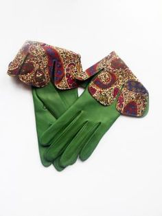 Gizelle Renee Handmade Ladies Leather Gloves with Navy & Burgundy Liberty Prin