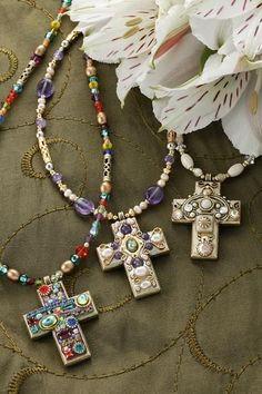 97ac6019527e Medium Gemstone Cross Necklace-Choice of 3 Bead Colors  beadedjewelry