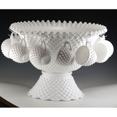 Fenton Milk Glass Hobnail 14 Piece Flared 7 Quart Punch Bowl Set - HTF