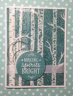 A sparkly Christmas card made with Stampin' Up!'s Woodland Textured Embossing Folder. Created by Linda.