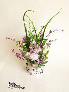 My florist work - Violet composition #knitmadeflowers #knitmade #violet