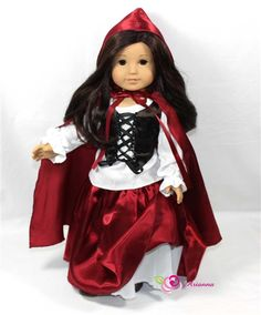 Gorgeous Ruby costume -White peasant top, brocade tie front vest, quality satin skirt with petticoat skirt and to complete match satin hooded cape.
