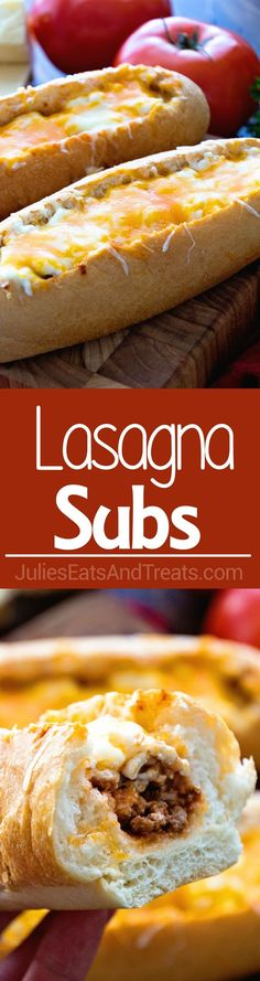 Baked Lasagna Subs ~ A Fun & Delicious Twist on Lasagna! Perfect for Quick Dinners on Busy Nights! Savory Meat Sauce in Subs Buns then Topped with Cheese! ~ https://www.julieseatsandtreats.com