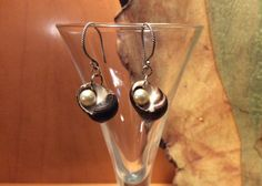 Natural Snail Shell and Faux Pearl Drop Earrings by BamasButtons
