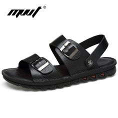 Men Sandals Genuine Leather Sandals Two Style Men Slippers Cool //Price: $37.00 & FREE Shipping //     #hashtag2