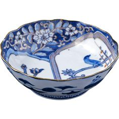 Japanese porcelain Imari dish with magnolia and bird circa 1900 from Bear & Raven on Ruby Lane