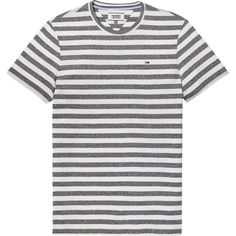 Tommy Hilfiger Tommy Jeans Essential Stripe T-shirt ($49) ❤ liked on Polyvore featuring men's fashion, men's clothing, men's shirts, men's t-shirts, mens crew neck shirts, tommy hilfiger mens shirts, mens striped shirt, mens striped t shirt and mens stripe shirts
