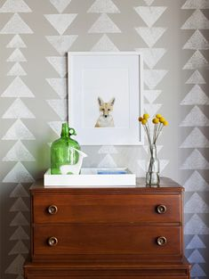 Close up on wall stamp with fox portrait. I bet Wes Anderson's kids have rooms like this.