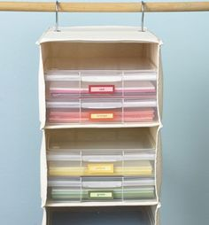 Hang your paper storage and organize it how you'd like.