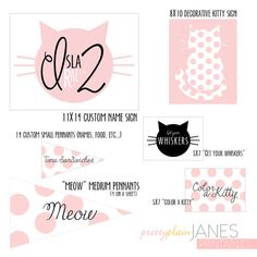 Kitty Cat Party Coordinting Printables by PrettyPlainJanes