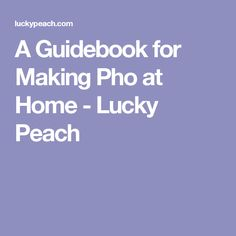 A Guidebook for Making Pho at Home - Lucky Peach