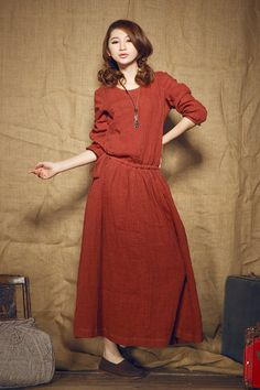 Red Winter Dress/ Long Linen Coat Dress / Ruffle by camelliatune, $128.00