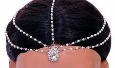 Silverpolish white head piece tikka-1229[Regular Price:                                    $37.00                                                                    Now only:                                    $14.80]
