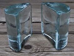 $45.....Vintage-Blenko-Art-Glass-Pair-of-Half-Moon-Bookends-Clear-Original-Stickers
