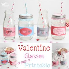 Love cute Valentine's Ideas! This is to add a cute touch to the day with this free printable to cut out and wrap around glasses. Cuteness!