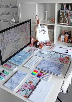 Back To School/University Supplies & Stationery Guide + Giveaway - Lily Like - desk organization office Home Office Design, Home Office Decor, Office Table, Office Chairs, Study Room Decor, Study Rooms, Study Organization, Stationary Organization, Desk Inspiration