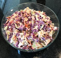 Clean eating coleslaw perfect for a summer picnic or party. Can you guess the secret ingredient that makes it extra creamy?