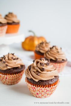 Chocolate Pumpkin Cupcakes with Nutella Buttercream