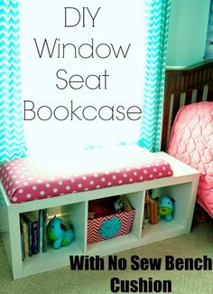 This DIY Window Seat Bookcase with No Sew Bench Cushion is easy and a great addition to any room! No Building or Sewing Required!