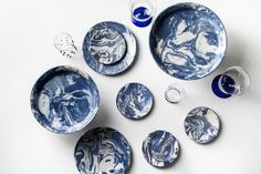 Blue Ebru Marble Ceramic Dinner Plate - Simple Life Istanbul - 2