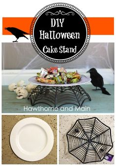 DIY Halloween Dollar Store Cake Stand at www.hawthorneandmain.com