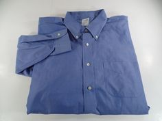 Brooks Brothers Slim Fit XL Mens Button Front Dress Shirt Blue Size 17 1/2 - 34 #BrooksBrothers