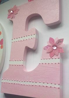 Handpainted nursery wall letters in pink and white by candywall, $16.00