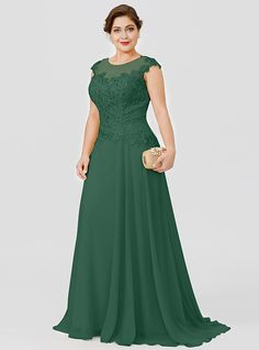 Plus Size Princess Illusion Neckline Floor Length Sweep / Brush Train Chiffon Beaded Lace Mother of the Bride Dress with Beading by LAN TING… Mother Of Bride Outfits, Mother Of The Bride Gown, Mother Of Groom Dresses, Mothers Dresses, African Fashion Dresses, African Dress, Evening Dresses Plus Size, Evening Gowns, Mom Dress