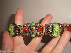 Max Neiger 1920s Art Deco Egyptian Revival Signed Czech Glass Enamels Bracelet   eBay