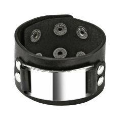 "Black Leather Buckle Plate Bracelet with Adjustable Snap Closure - 7.09""~8.66"" Length - 1.57"" Width WickedBodyJewelz - Leather Bracelets. $18.90"