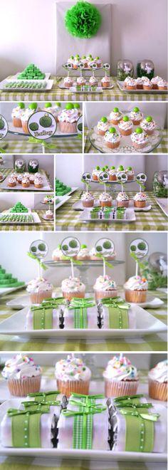 Baby Pea Sweet Table / Pea Pod baby shower theme - Mesa de postres y dulces color verde limón con blanco tema chicharitos