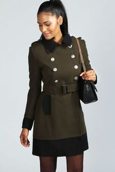 Bethan Double Breasted Contrast Military Coat