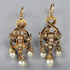 Antique 18kt Gold, Diamond, and Pearl Earpendants, France, each set with old mine- and rose-cut diamonds, black tracery enamel accents, and suspending pearl drops, lg. 1 1/8 in., export stamps. Victorian or Victorian style.