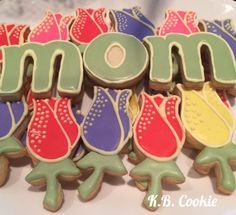Sugar cookies. Royal Icing. Tulips for Mother's Day.