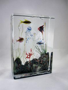 Oggetti Murano Glass Aquarium Sculpture by Elio Raffaeli