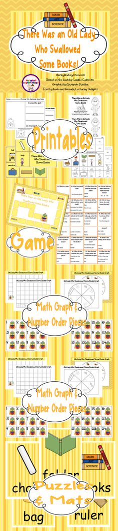 Activities and printables for the NEW book... There Was an Old Lady Who Swallowed Some Books!