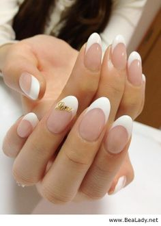 French manicure and gold