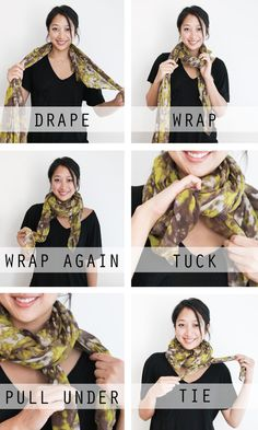 DIY Tutorial 10 Tutorials Showing How To Tie A Scarf / How to wear a scarf 5 ways: One scarf, and five different fashionable ways to tie it - Bead&Cord Ways To Wear A Scarf, How To Wear Scarves, Tie Scarves, Crochet Scarves, Diy Fashion, Autumn Fashion, Fashion Tips, Fashion Beauty, Sweater Weather