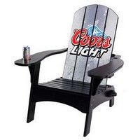 """All wood Adirondack chair is fun, comfortable and makes a great display. Our printing technology allows for all-over imprint on the chair. Drink holder in one arm, hole for beach or market umbrella in the other arm. Easy to assemble. Umbrella sold separately.  34"""" W x 39"""" H"""