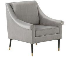 Fotel z aksamitu George, Tapicerka: szary Nogi: czarny, złoty