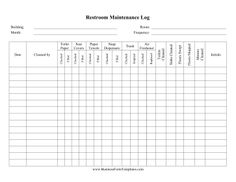daily cleaning log template Simones Cafe Bathroom list | bathroom list | Pinterest | Chart ...